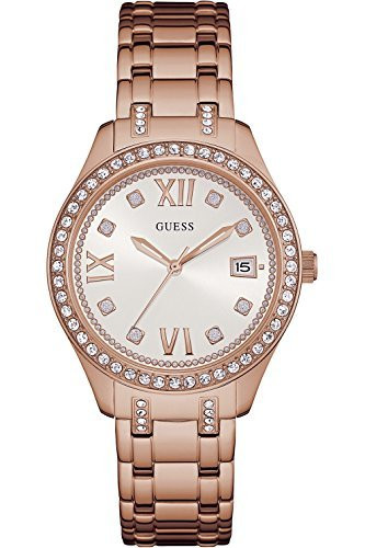 GUESS W0848L3,Ladies Dress,Stainless Steel,Rose Gold-Tone,Date,Crystal-Accented Bezel,50m WR