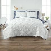 Better Homes & Gardens Cotton Blend Pintuck 3-Piece Oversized Comforter Set, Poly Filled, White, Full/Queen
