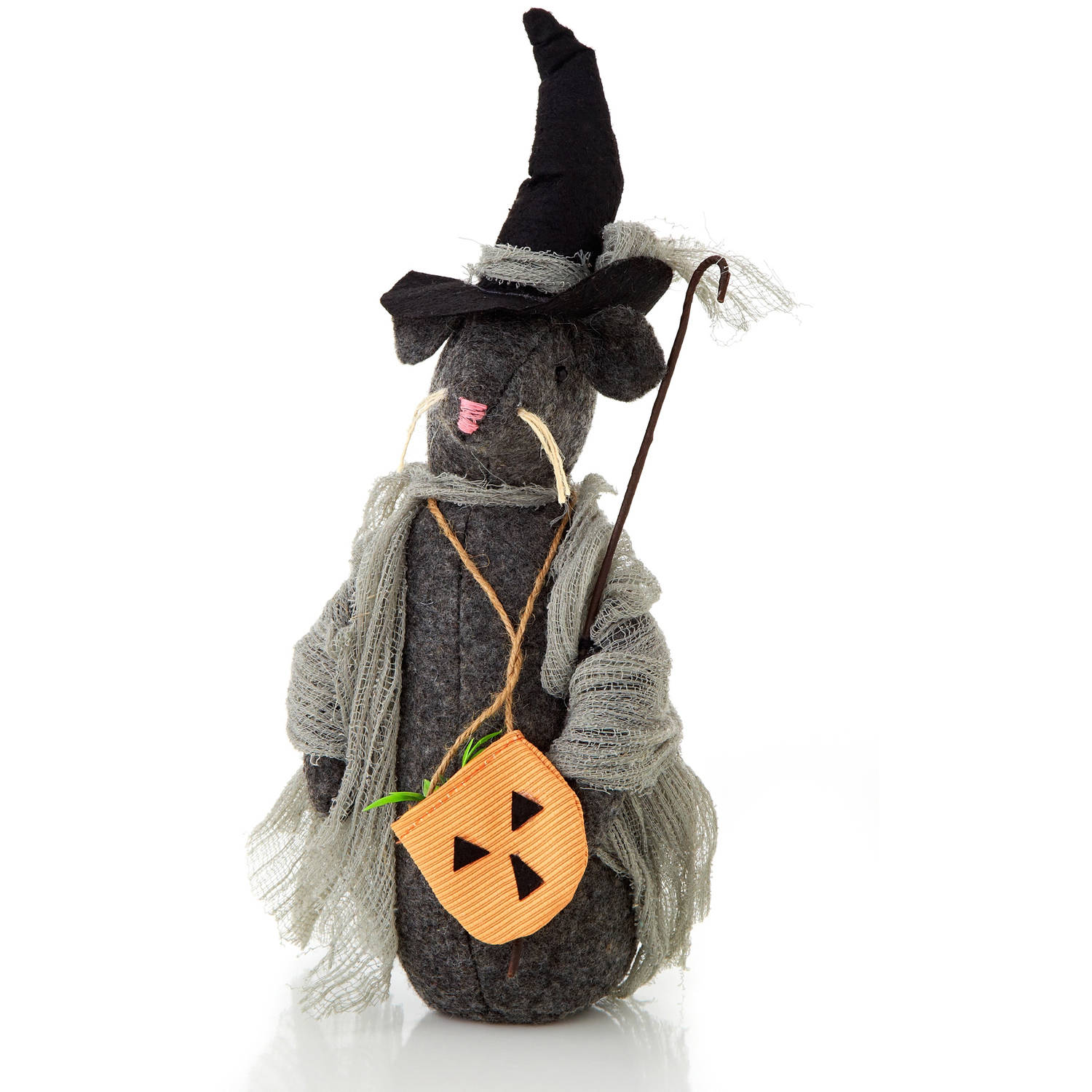 "Halloween Collection 9"" Standing Dressed Rat with Cane"