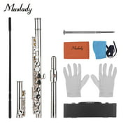 Muslady Woodwind Instrument 16 Holes Closed Hole Flute C Key Concert Flutes Cupronickel Silver Plated with Cleaning Cloth Rod Gloves Screwdriver