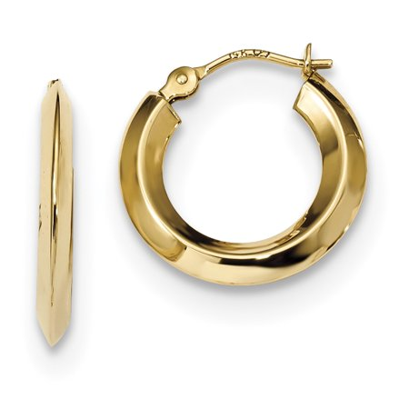 14k Polished Knife Edge Hoops YE1769
