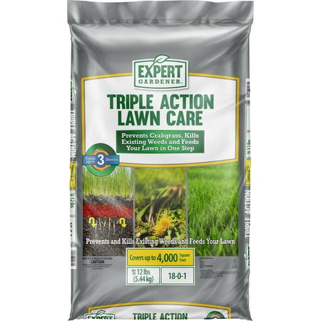Expert Gardener Triple Action Lawn Fertilizer, 12lb Covers 4,000 sq. ft.