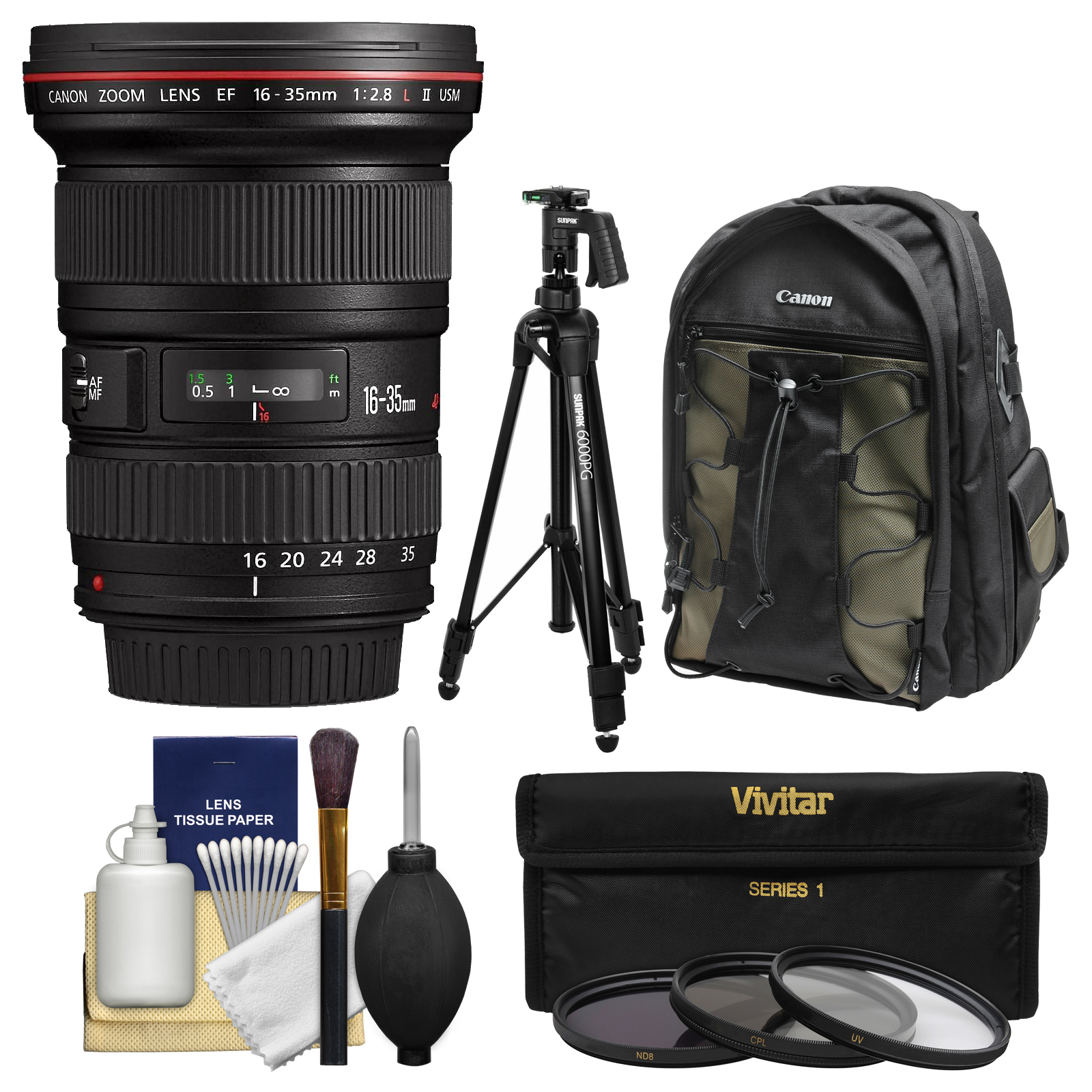 Canon EF 16-35mm f/2.8 L II USM Zoom Lens with Canon Backpack + Pistol-grip Tripod + 3 UV/CPL/ND8 Filters + Kit
