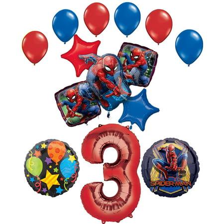 Happy Birthday Spiderman (Spider-Man Party Supplies 3rd Birthday Balloon Bouquet)