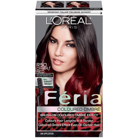 Feria Brush-on Ombre Effect Hair Color, R50 Ombre Red (Packaging May Vary), Vibrant colored ombre effect even on dark bases By LOreal