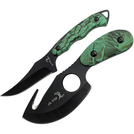 Elk Ridge ER-300CA Hunting Knife Two-Piece Set, Straight Edge and Gut Hook Blades, Camo ABS Handles