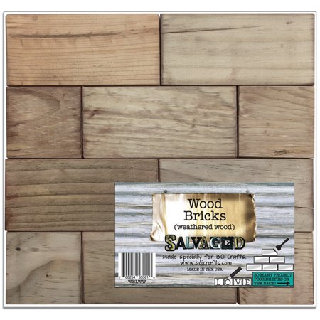 Salvaged Wood Bricks Pattern Block-Weathered Wood 13.25
