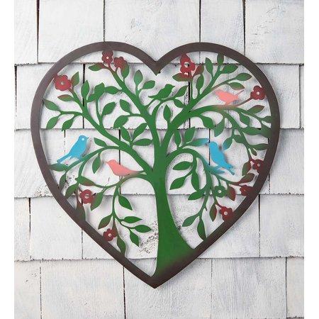 Heart Tree Painted Metal Indoor / Outdoor Wall Art