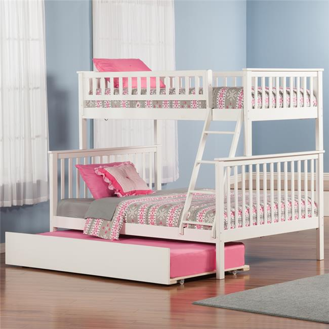 Woodland Bunkbed with Urban Trundle Bed - White, Twin Over Full Size