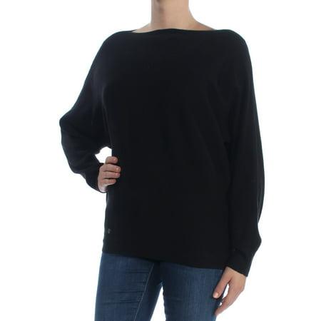RALPH LAUREN Womens Black Dolman Sleeve Boat Neck Sweater  Size: - Ralph Lauren 3/4 Sleeve Sweater