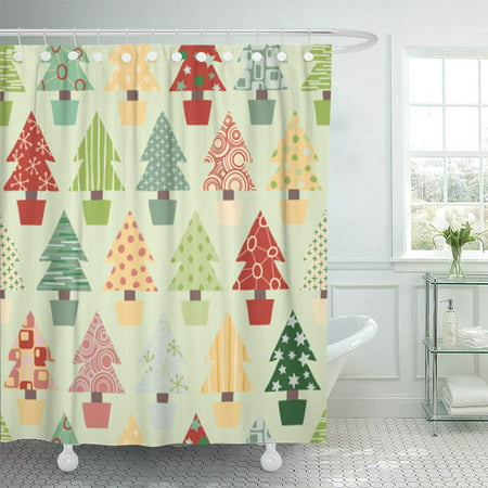 PKNMT Red Pattern Christmas Tree in Festive Color Scheme Green Xmas Waterproof Bathroom Shower Curtains Set 66x72 inch ()