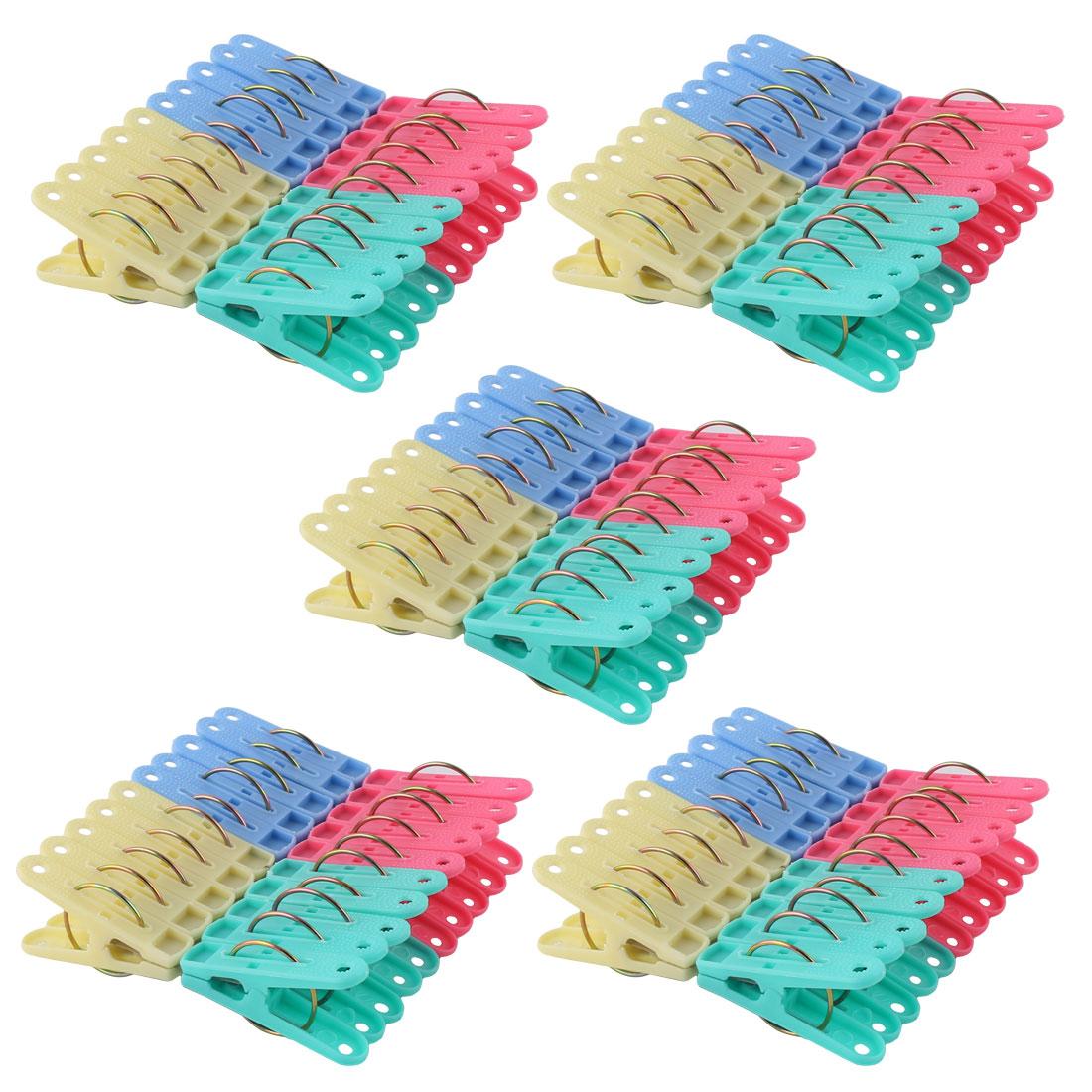 Home Plastic Socks Towel Clothing Clothes Clips Clamp Hanger 100pcs
