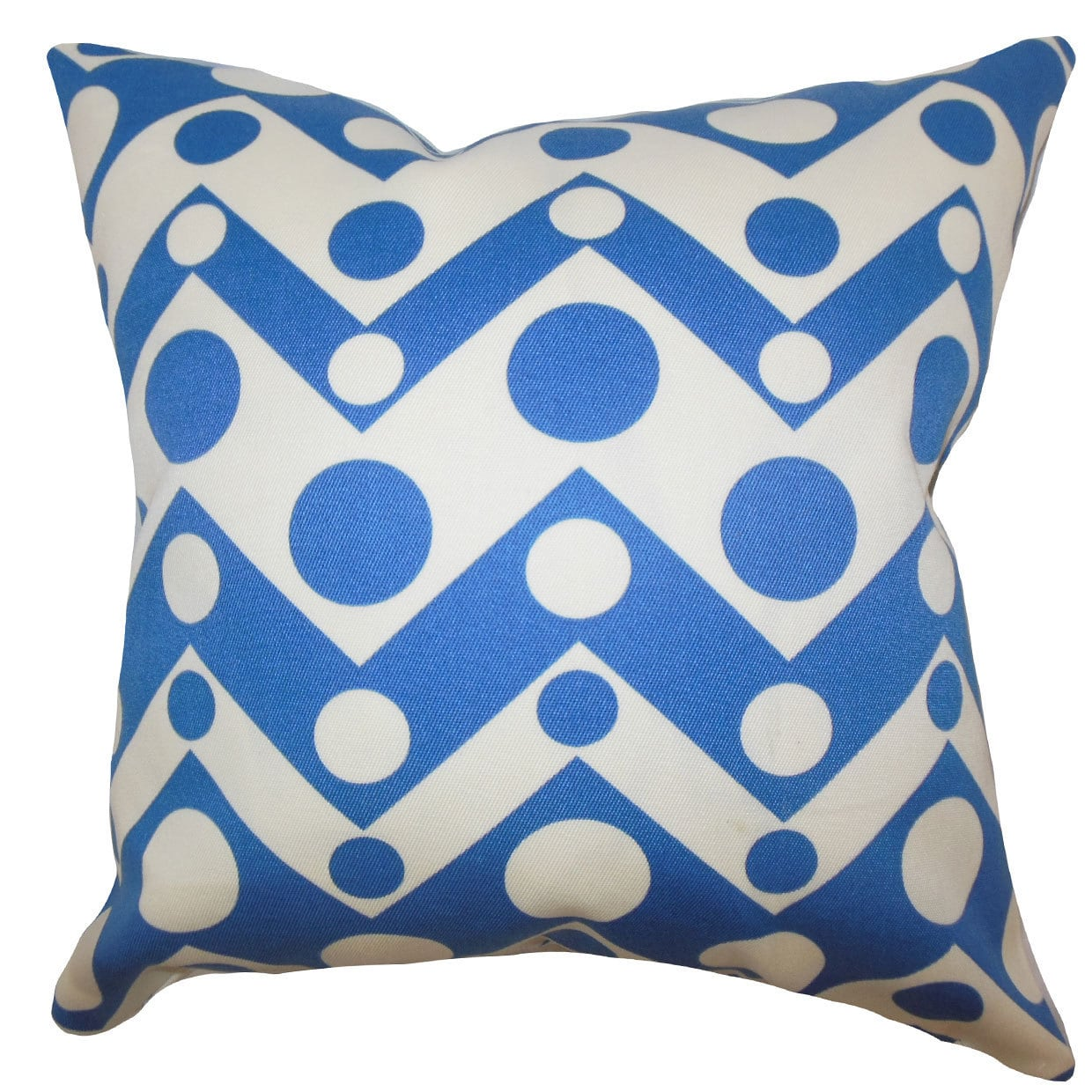 "The Pillow Collection Quenby Geometric 24"" x 24"" Down Feather Throw Pillow Blue"