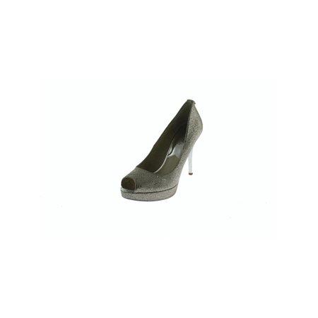 568a184f41e MICHAEL Michael Kors - MICHAEL Michael Kors Womens York Glitter Platform  Heels Silver 6 Medium (B