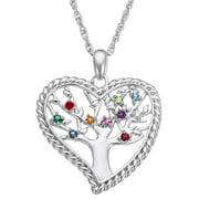 "Personalized Women's Silvertone or Goldtone Family Heart Birthstone Tree Pendant, 20"""