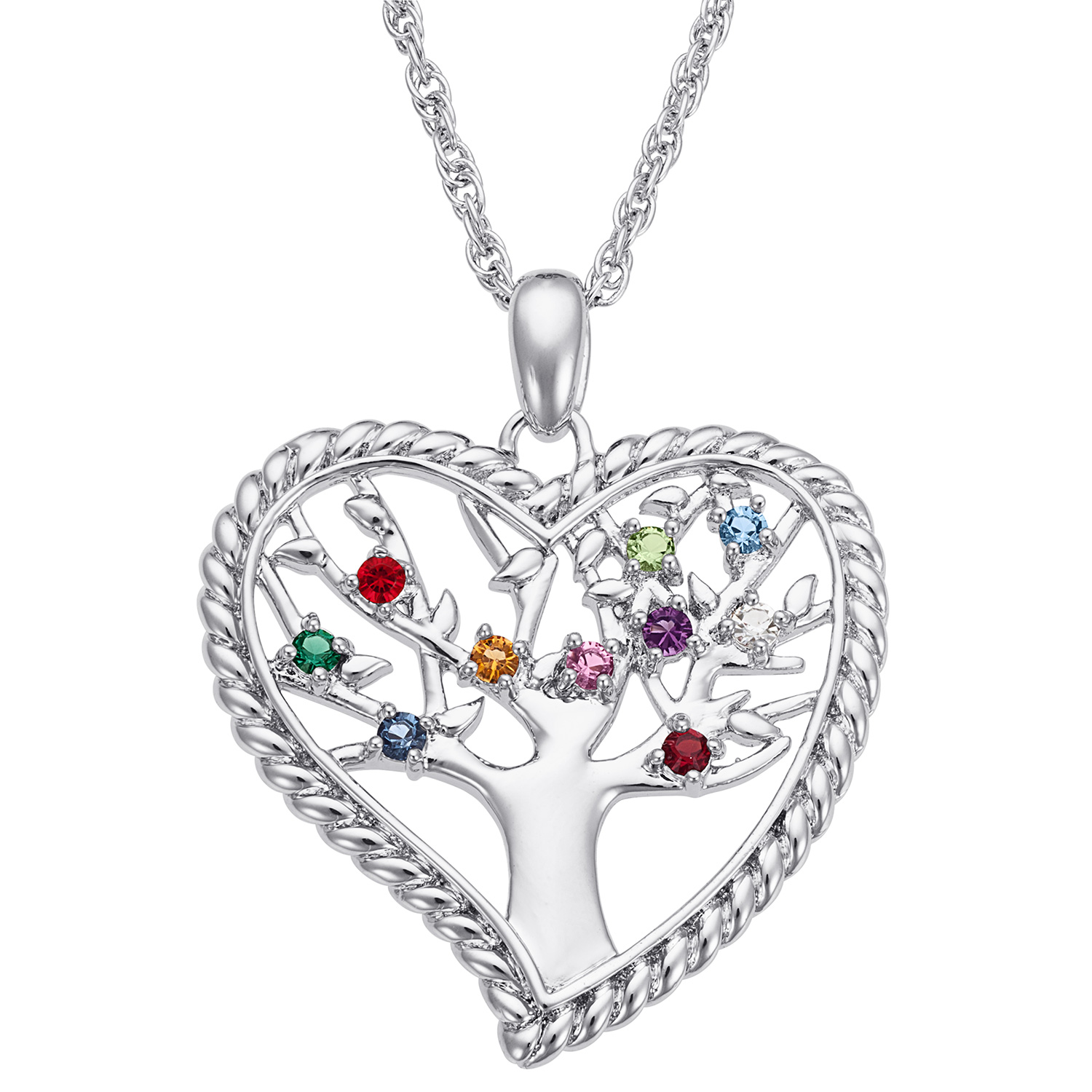 Personalized Women's Silvertone or Goldtone Family Heart Birthstone Tree Pendant, 20""