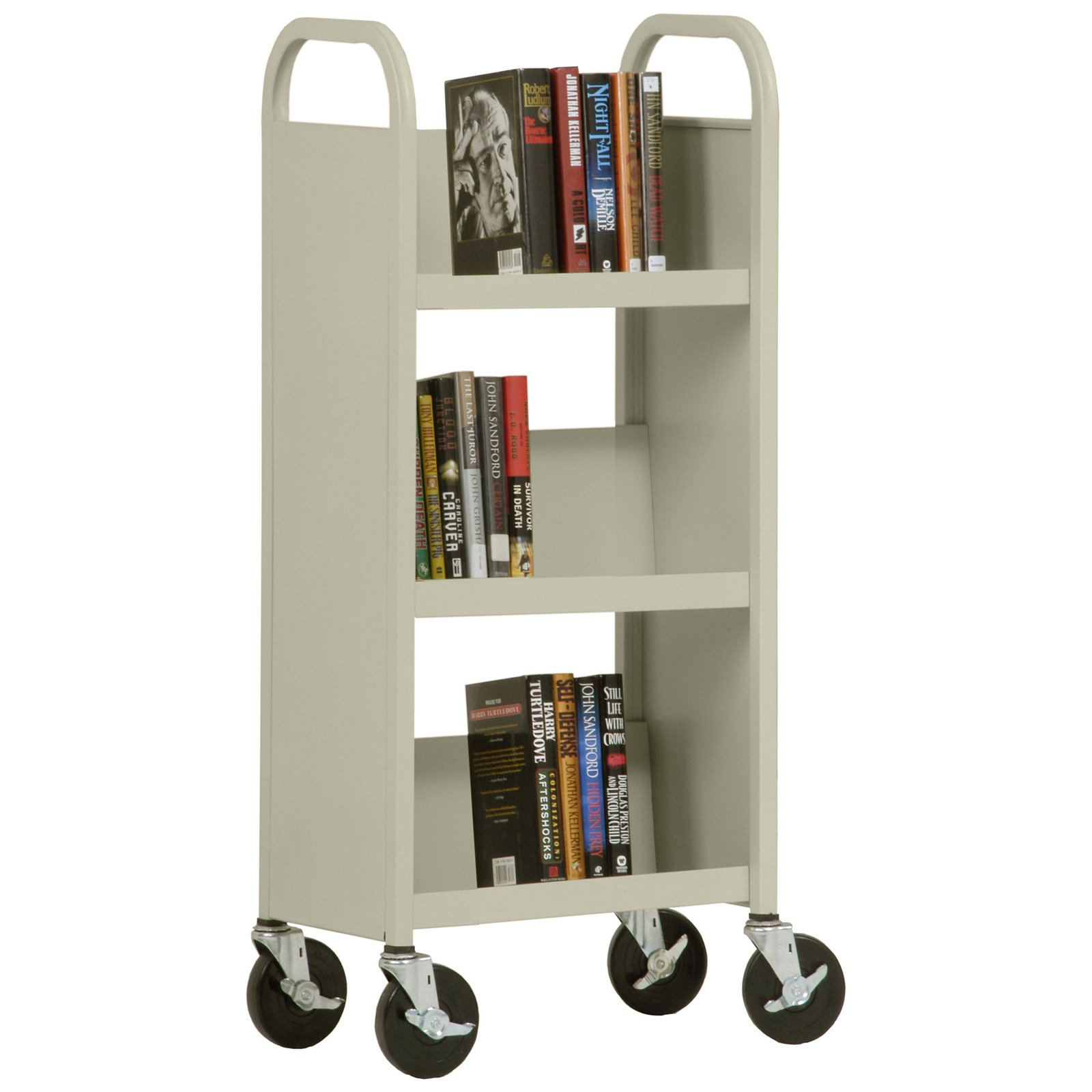 Sandusky Lee Sloped Shelf 3-Tier Mobile Bookcase