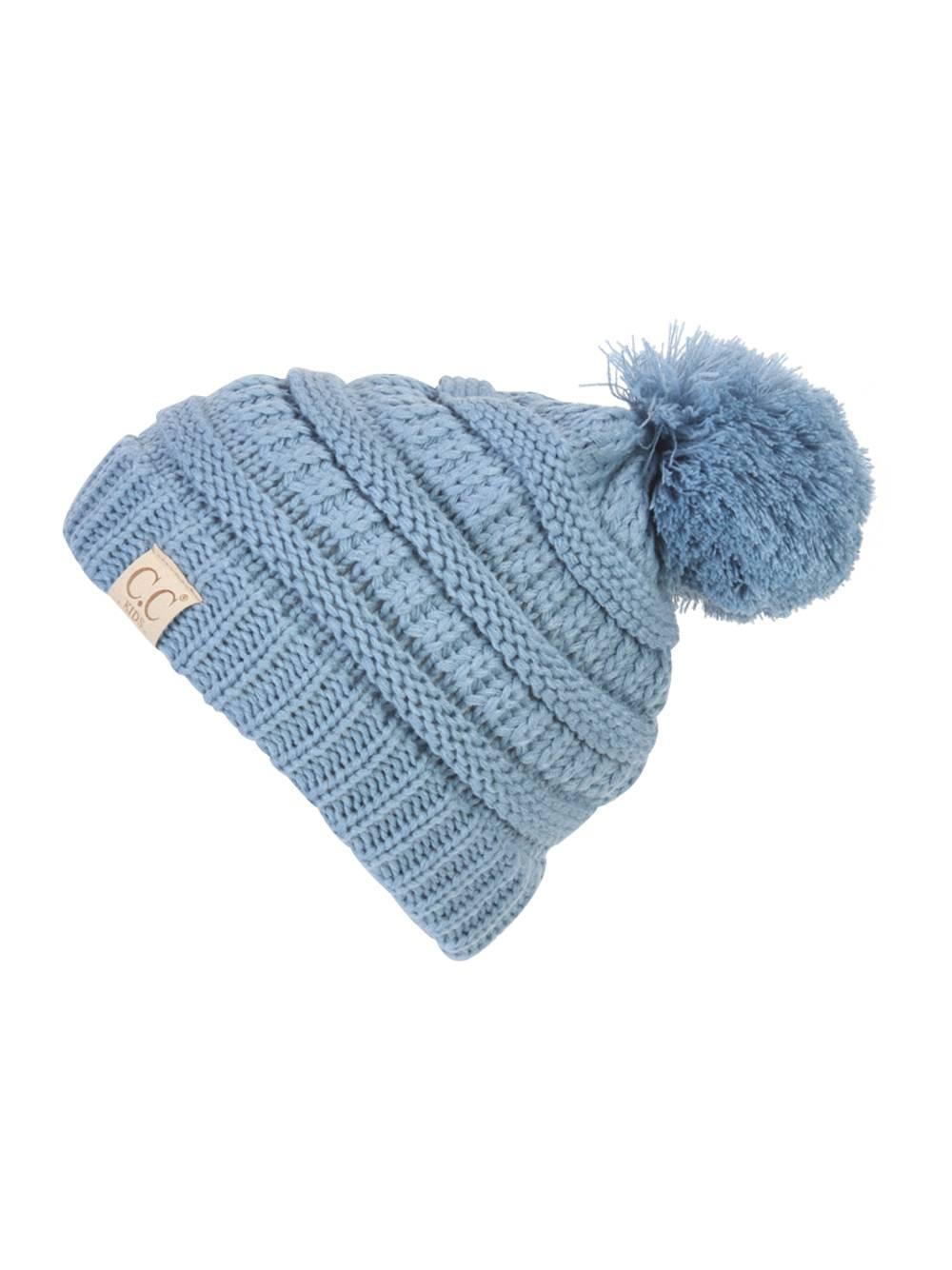 697efe90d3c815 Gravity Threads CC Kids Warm Cable Knit Thick Soft Beanie w/ Pom - Ivory