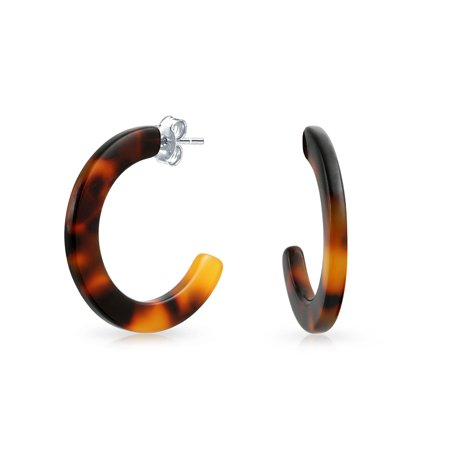 Faux Shell Earrings - Brown Acrylic Tortoise Shell Flat Half Hoop Stud Earrings For Women Stainless Steel 1 Inch Dia