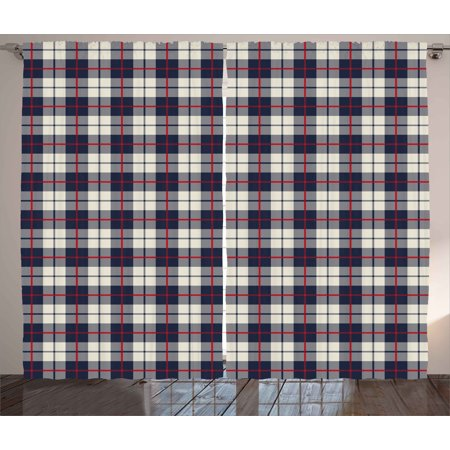 Abstract Curtains 2 Panels Set, Colorful Stripes Square Shaped Geometric Line Checkered Artsy Pattern, Window Drapes for Living Room Bedroom, 108W X 63L Inches, Egg Shell Red Dark Blue, by