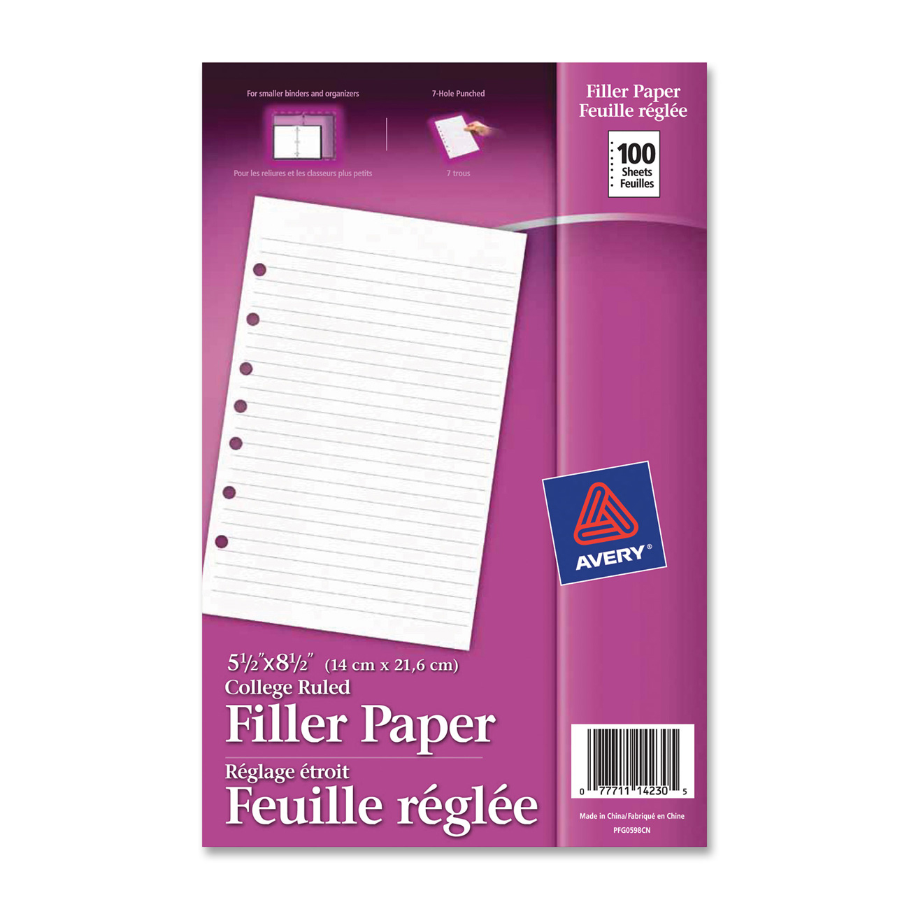 avery r mini 5 1 2 x 8 1 2 binder filler paper 14230 100 sheets