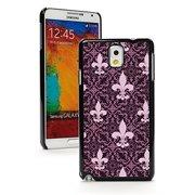 Samsung Galaxy Note 4 Hard Back Case Cover Pink Purple Fleur-de-lis Pattern (Black)