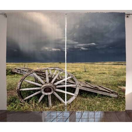 Barn Wood Wagon Wheel Curtains 2 Panels Set, Cloudy Day in Village Farm Aged Vintage Cart Outdoors, Window Drapes for Living Room Bedroom, 108W X 84L Inches, Umber Green Dark Blue, by Ambesonne