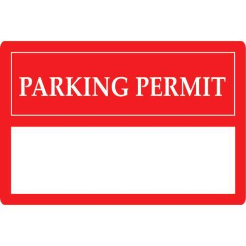 Parking permit window stickers red 3 x 2