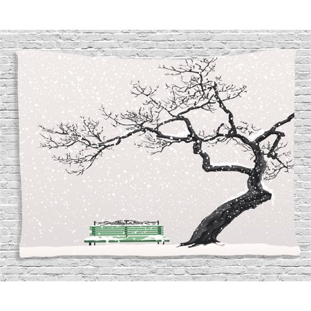 Farm House Decor Tapestry, Illustration of Winter Scenery with Retro Bench and Single Tree Cold Days, Wall Hanging for Bedroom Living Room Dorm Decor, 80W X 60L Inches, Brown Green, by Ambesonne ()