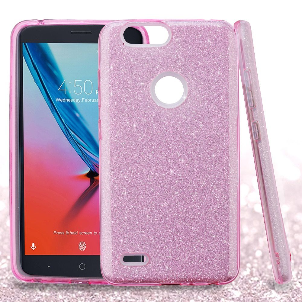 ZTE Blade Z Max Case, ZTE Sequoia Case, by Insten Glitter Dual Layer Hybrid PC/TPU Rubber Case Cover for ZTE Blade Z Max/Sequoia - Pink - image 3 of 3