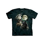 Three Wolf Moon Howling Wolves Adult T-Shirt Tee