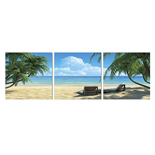 "Furinno Senik Coconut Tree and Chair 3 Panel Medium Density Framed Photography Triptych Print, 72"" x 24"" - image 1 of 1"