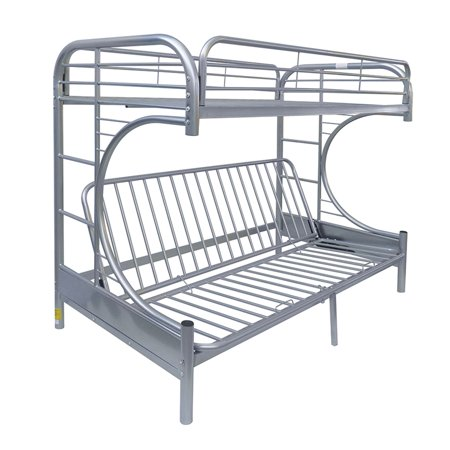 Acme Eclipse Twin Over Full Futon Bunk Bed Silver