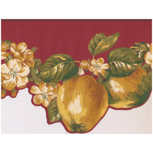 York Wallcoverings Faux Painted Apples Flowers on Vine Scalloped Light Wall Border