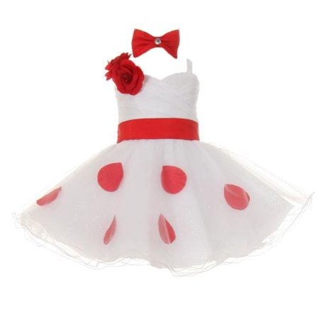 Red Polka Dot (Baby Girls White Red Polka Dots Bow Organza Flower Girl Dress)