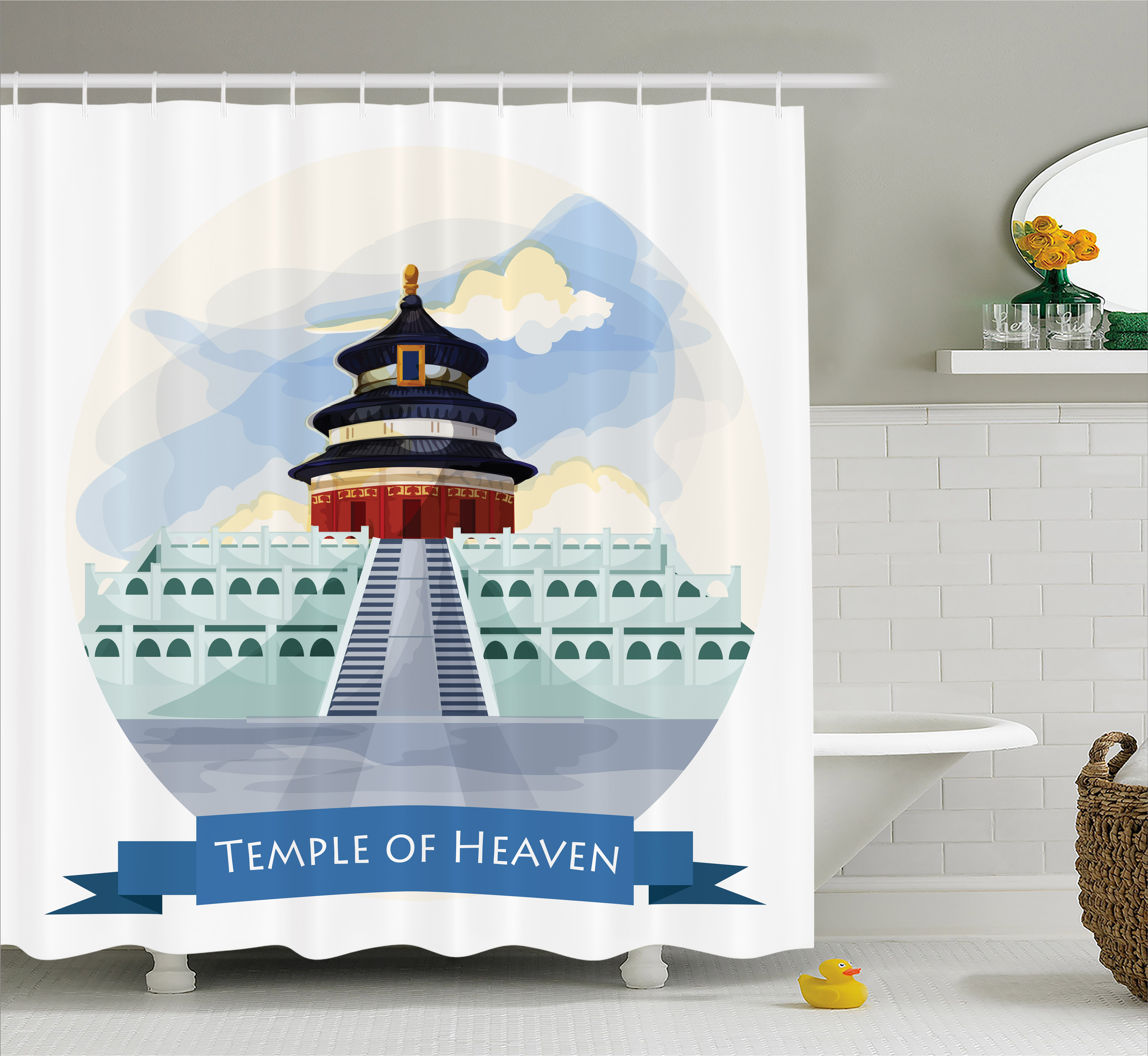 Ancient China Shower Curtain, Illustrated Temple of Heaven in Beijing Historical Landmark Icon Monastery, Fabric Bathroom Set with Hooks, 69W X 75L Inches Long, Multicolor, by Ambesonne