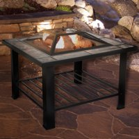 Fire Pit Set, Wood Burning Pit - Includes Screen, Cover and Log Poker - Great for Outdoor and Patio, 30 inch Square Marble Tile Firepit by Pure Garden