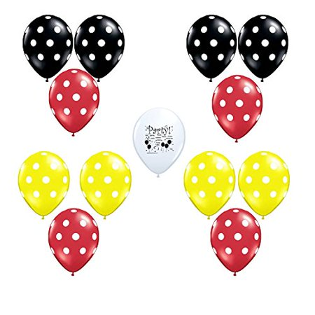 Disney Mickey Mouse Party Red Black and Yellow Latex Balloons