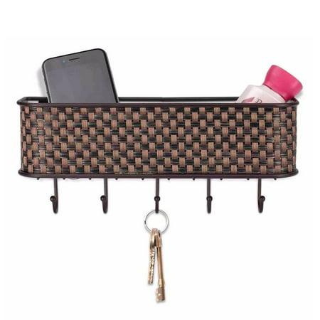 "Home Basics Weave Letter Basket with Key Hooks 10.5"" x 2.5"" x 2.5"""