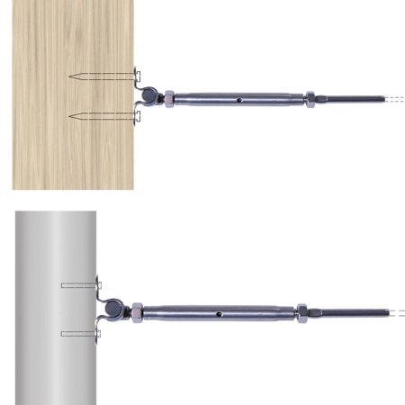 """Aimeeli T316 Stainless Steel Tensioner Set for Cable Railing w/Deck Toggle 1/8"""" Cable - image 2 of 7"""