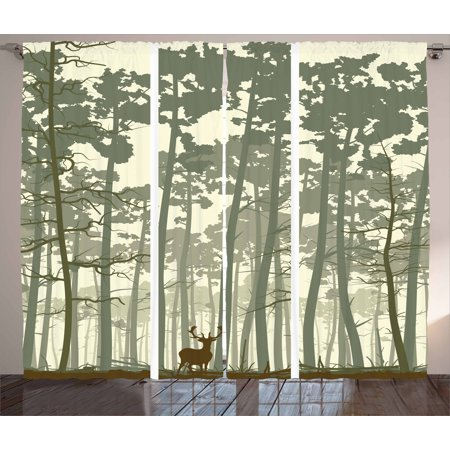 Forest Curtains 2 Panels Set, Vertical Stripes with Tall Trees and Lonely Deer Nature Illustration, Window Drapes for Living Room Bedroom, 108W X 84L Inches, Sage Green Cream Brown, by Ambesonne