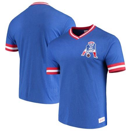 reputable site fd4b4 515ec New England Patriots Mitchell & Ness Overtime Vintage V-Neck T-Shirt -  Royal - Walmart.com