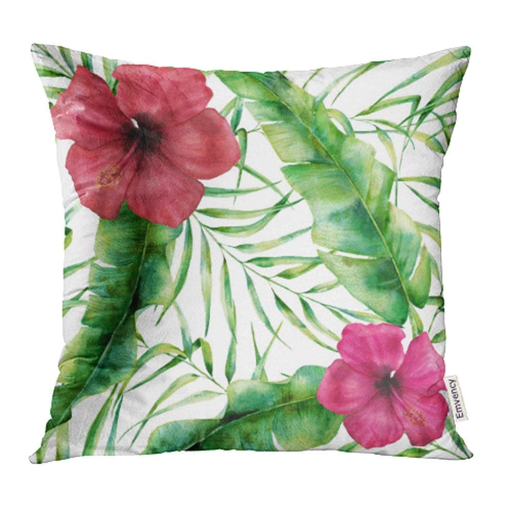 USART Watercolor Floral with Exotic Flowers and Leaves Hand with Tropical Plant Hibiscus Pillowcase Cushion Cases 20x20 inch