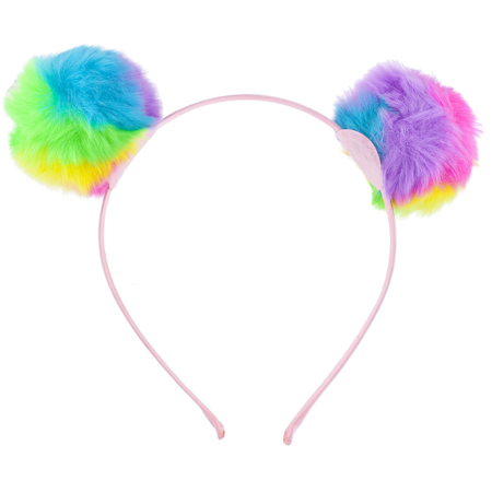 Lux Accessories Tie Dye Faux Fur Pom Ball Cat Panda Costume Puff Ear - Fur Headband