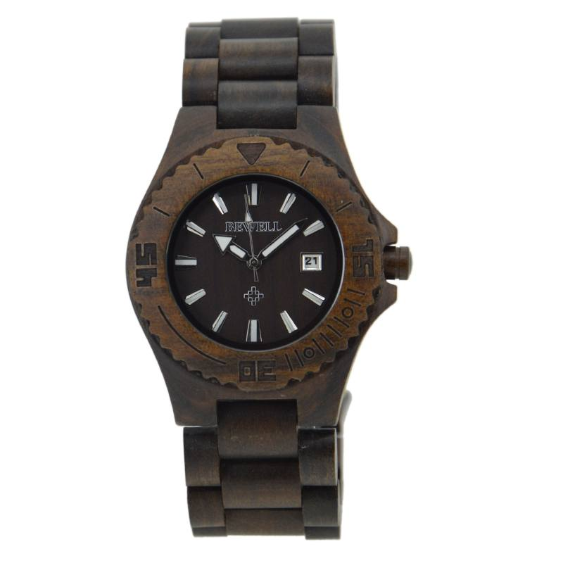 Bewell Men's Black Wood Watch Made With Sandalwood