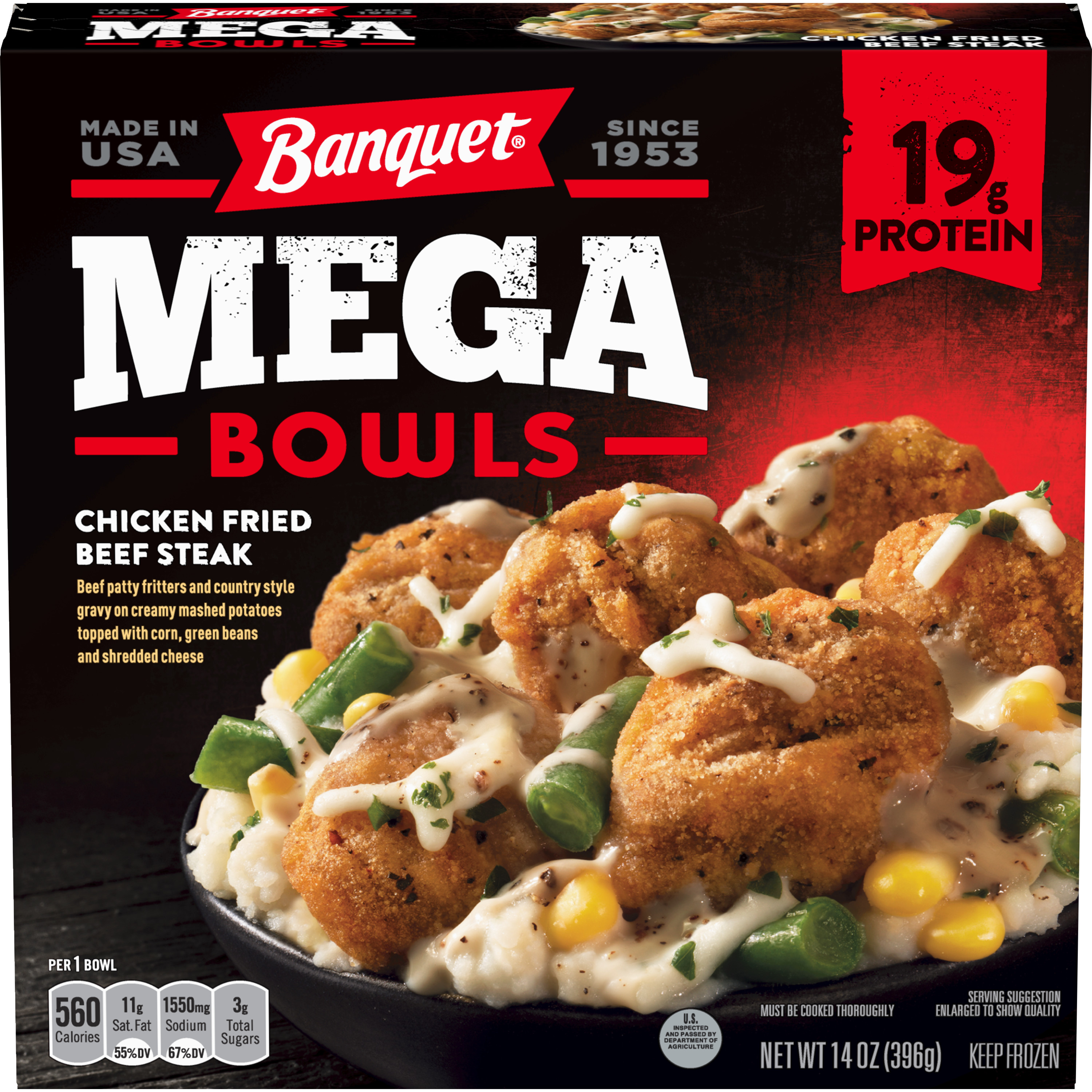 Banquet Mega Bowls Chicken Fried Beef Steak Frozen Dinner, 14 Ounce