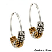 Charming Life Sterling Silver 'Daisy Wheel' Hoop Earrings Silver Daisies