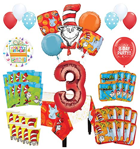 Dr Seuss Birthday Decorations (Mayflower Products Dr Seuss 3rd Birthday Party Supplies 8 Guest Decoration Kit and Balloon)