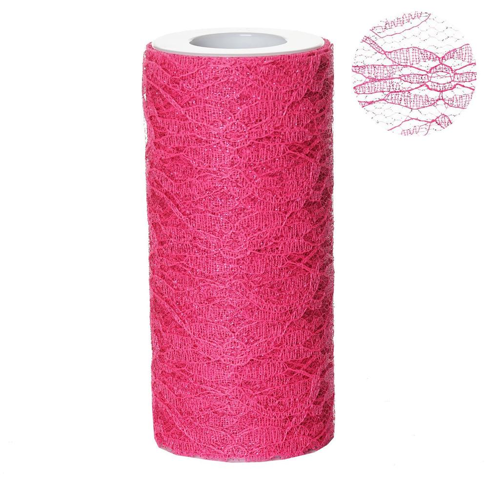 "Floral Shimmer Lace Glitter Tulle Fabric Roll For Wedding Party Decorations - Fushia- 6""X10 YARDS"
