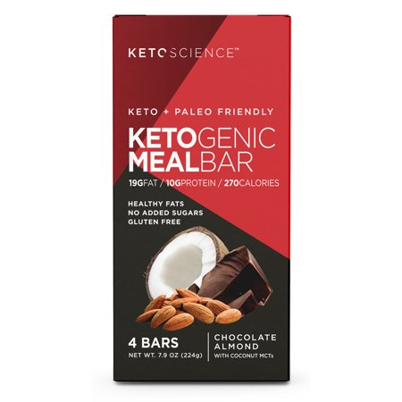 Keto Science Ketogenic Meal Bar Chocolate Almond Dietary Supplement, Pack of 4 Bars
